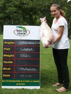 Katelyn Olsen's winning 5.62kg Snapper