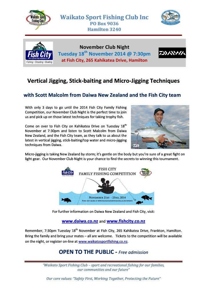 November 2014 Club Night with Daiwa NZ and Fish City