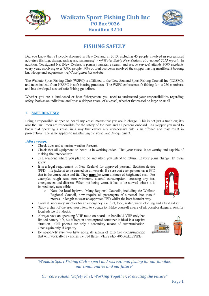 Fishing Safely Guidelines Page 1