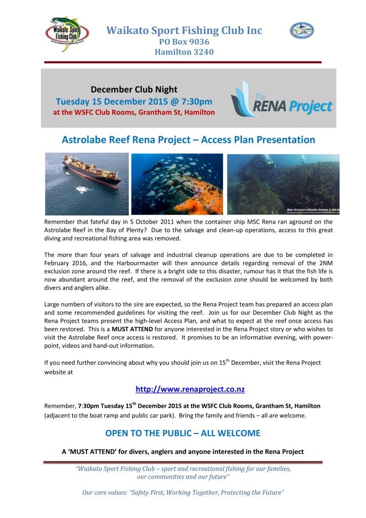 December 2015 Club Night Poster - Rena Project Tauranga