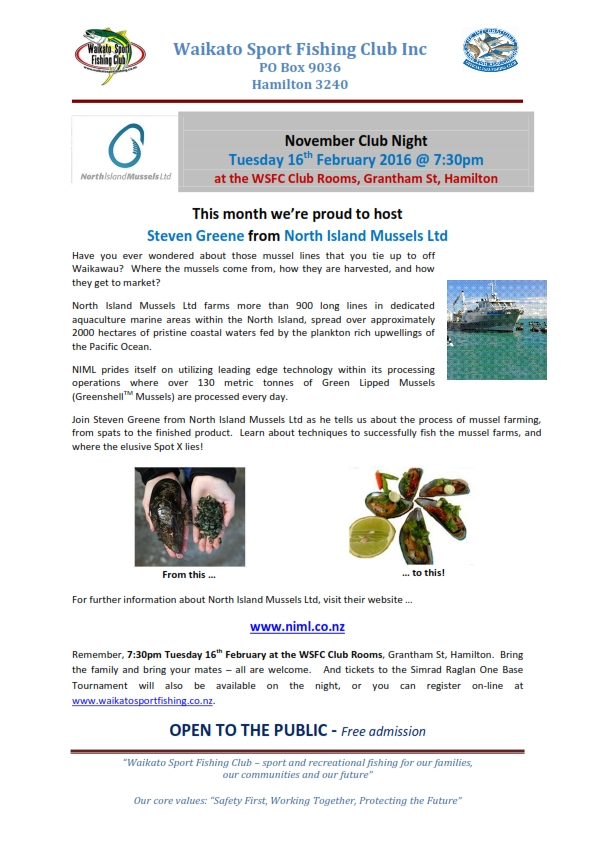 February 2016 Club Night with North Island Mussels Ltd V2_001